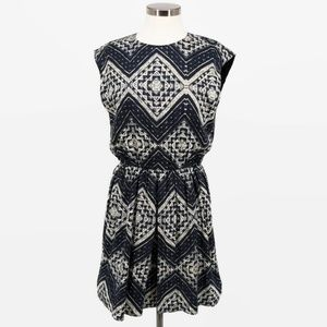 Alice + Olivia Navy Cream Geo Print Dress 8